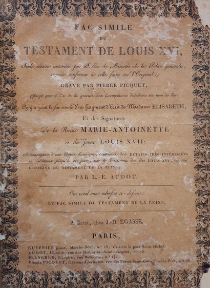FAC SIMILE DU TESTAMENT DU ROI LOUIS XVI....