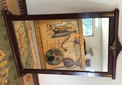 MIROIR  en bois et bronze doré  137 x 89...