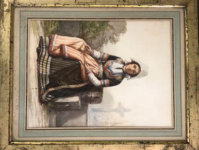 ECOLE FRANCAISE DU XIXe  Jeune fille en costume...