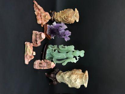 CHINE  Collection de sculptures en pierre...