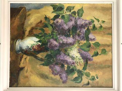Léa THOMPSON  Bouquet de lilas  Huile sur...