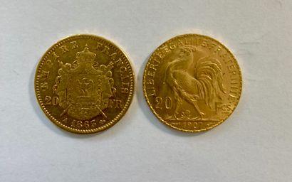 FRANCE  2 pièces 20 Francs or Napoléon/Marianne...
