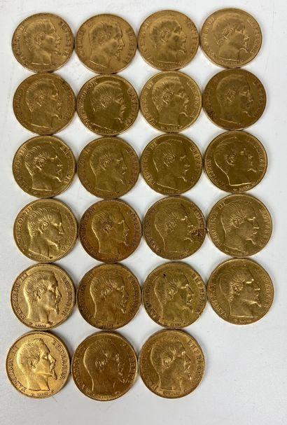 FRANCE 23 pièces 20 francs or Napoléon III...