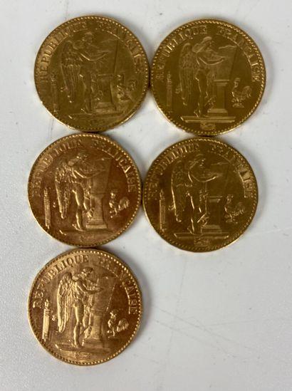 FRANCE 5 pièces 20 francs or Génie Poids...