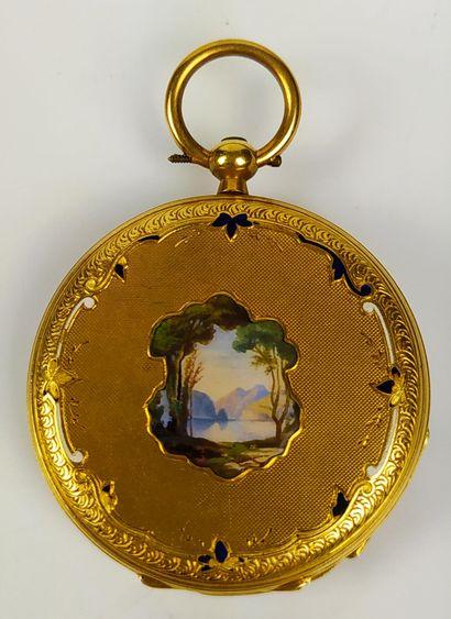 MONTRE A GOUSSET en or à décor au verso d'une...