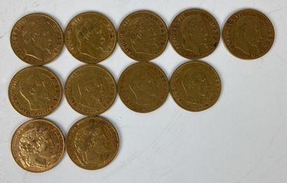 FRANCE 11 pièces 10 francs or Poids : 35...