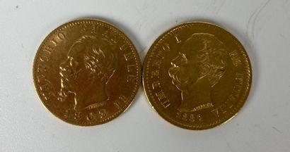 ITALIE 2 pièces 20 lires or Poids : 12.8...