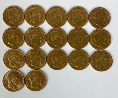 FRANCE 17 pièces 20 francs or Napoléon III...