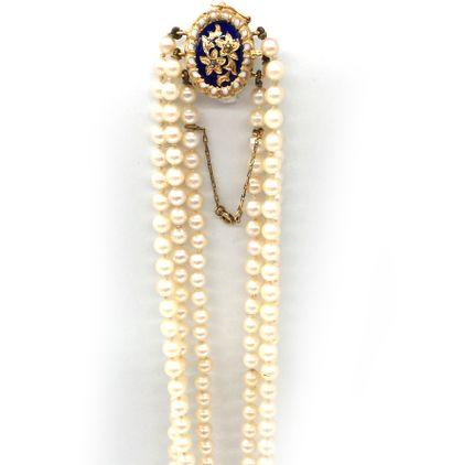 COLLIER trois rangs de perles blanches (non...