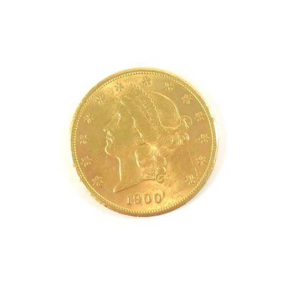 PIÈCE DE 20 DOLLARS en or jaune 18K. Diamètre...