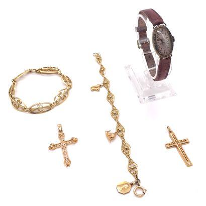 ENSEMBLE DE BIJOUX - deux bracelets en or...