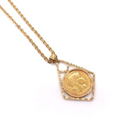 PENDENTIF orné d'une pièce en or de vingt francs de la République Française, datant...