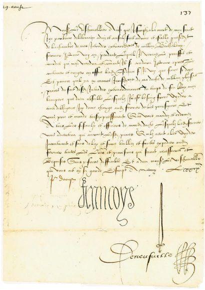 FRANÇOIS IER. 3 lettres signées « François...