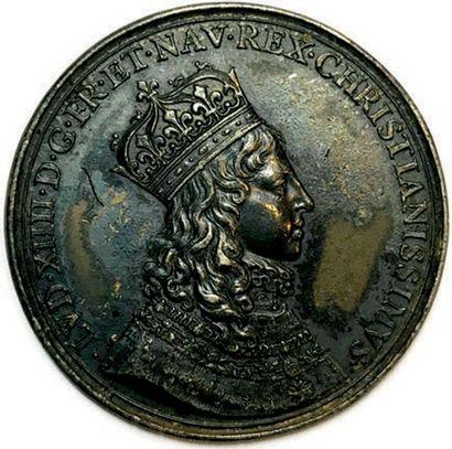 MEDAILLE EN ARGENT DU SACRE DE LOUIS XIV...