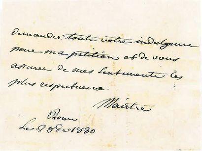 MAISTRE (XAVIER DE). Lettre autographe signée...