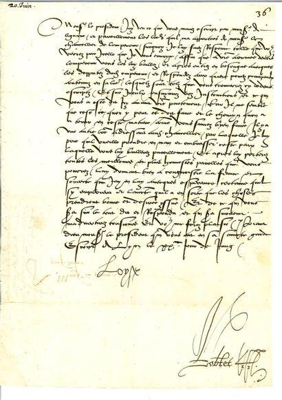 LOUISE DE SAVOIE. Lettre signée « Loyse »...