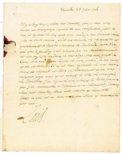 LOUIS XVI. Lettre autographe signée « Louis...