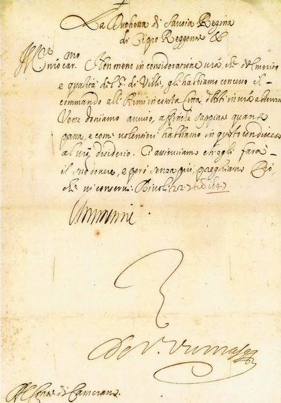 SAVOIE. CHRISTINE DE FRANCE. Lettre signée...