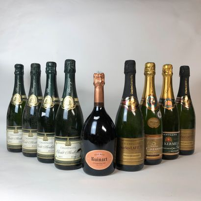 9 bouteilles : 4 CHAMPAGNE CHARLES MONTHIBAUT...