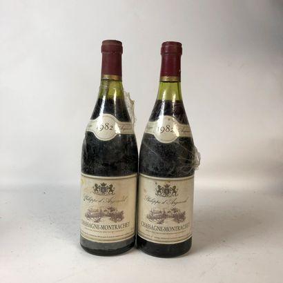 2 bouteilles CHASSAGNE-MONTRACHET 1982 Philippe...