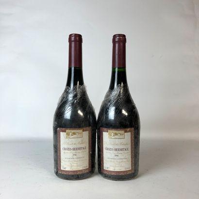 2 bouteilles CROZES-HERMITAGE 1990 Les Dessus...