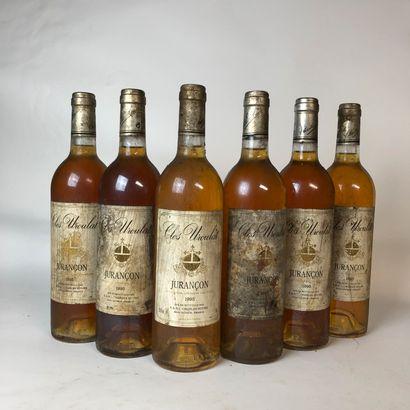 6 bouteilles JURANÇON 1995 Clos Uroulat (bouteilles...