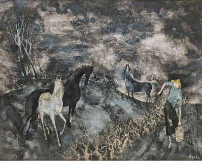 VARLA FELIX (1903-1986)  Les chevaux  Technique...