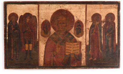 Icône «saint Nicolas avec saint Elie, archange...
