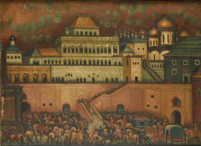 STELLETSKY DIMITRI (1875-1947)  Kremlin de Moscou  Huile sur toile  Signé en bas...