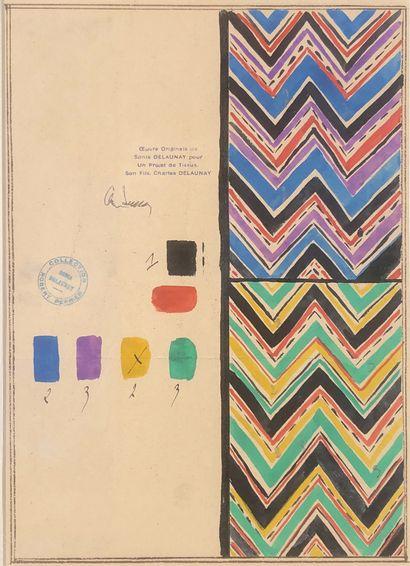 DELAUNAY SONIA (1885-1979)  Essais de couleurs....