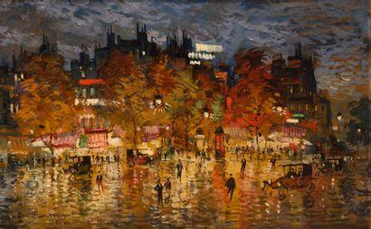 KOROVIN KONSTANTIN (1861-1939)  Place de Clichy  Huile sur carton  Signé en bas...