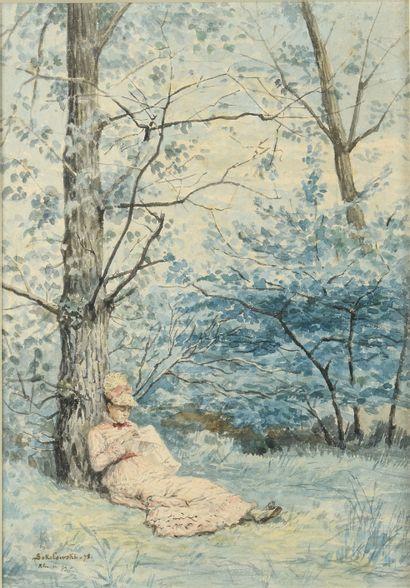 SOKOLOWSKI ZYGMUND (1857-1888)  Dame sous...