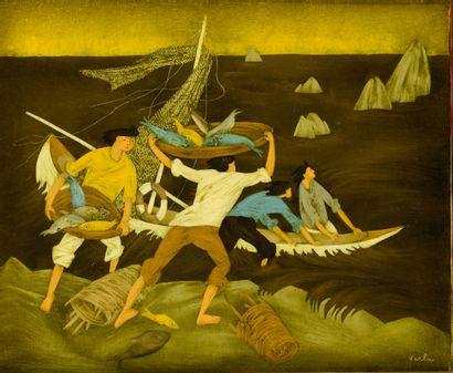 VARLA FELIX (1903-1986)  Les pêcheurs  Huile...