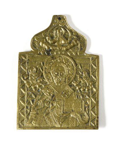 ICONE DE VOYAGE «SAINT NICOLAS»  Bronze  Russie,...