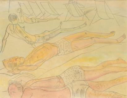 GRIGORIJEFF BORIS (1886-1939)  Scène de plage...