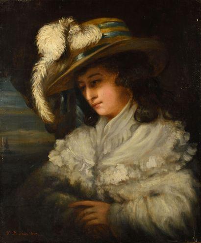 LEMAN YURI (1834-1901)  Dame au chapeau  Huile...