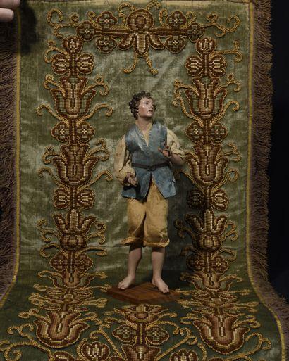 SANTON NAPOLITAIN en bois polychrome représentant...