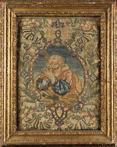 PANNEAU DE BRODERIE représentant un saint...