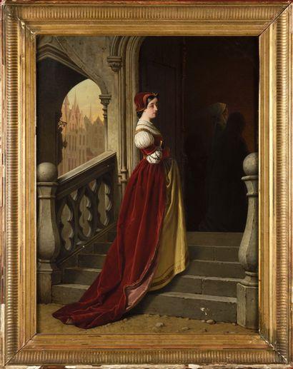 ECOLE BELGE DU XIXE SIECLE Marguerite à l'église...