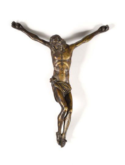 CHRIST EN BRONZE ARGENTE École Italienne...