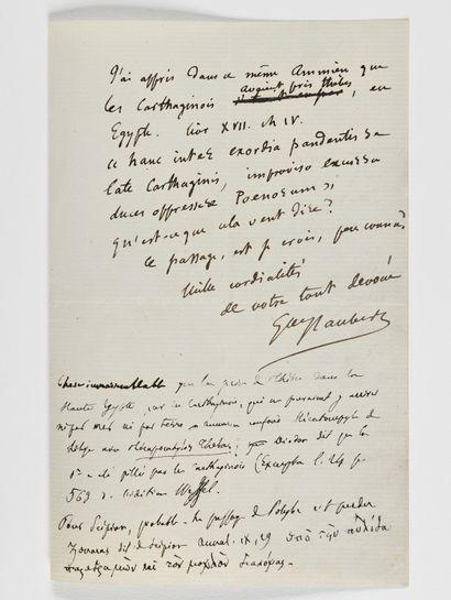 FLAUBERT (Gustave). Lettre autographe signée [à l'archéologue Charles_x0002_Ernest...