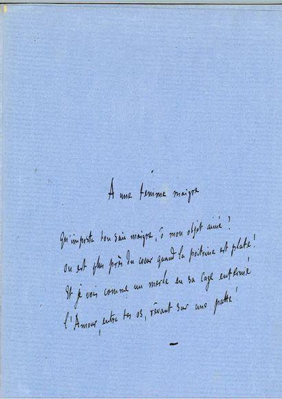 FLAUBERT (Gustave). Manuscrit poétique autographe intitulé « À une femme maigre...