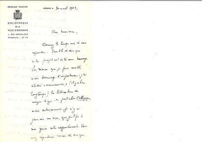 BATAILLE (Georges). Lettre autographe signée...