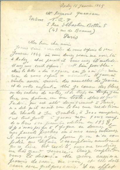 ARTAUD (Antonin). Lettre autographe signée...