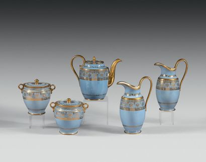 SEVRES Pestum teapot covered in porcelain with gold decoration on agate blue background...
