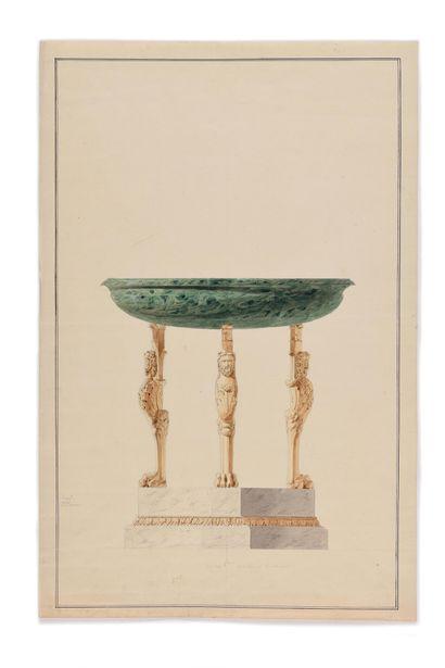 CHARLES PERCIER (1764-1838) Aquarelle originale...