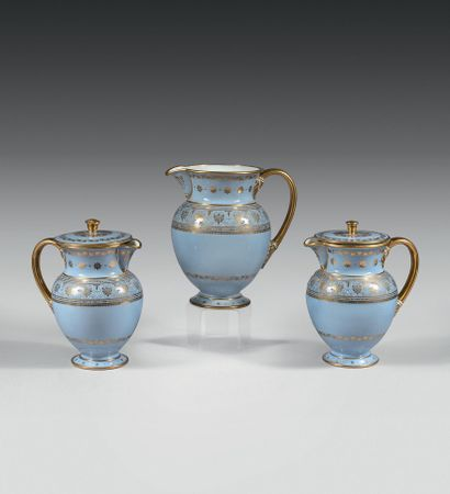 SEVRES Porcelain decoction pot of the first size with gold decoration on blue agate...