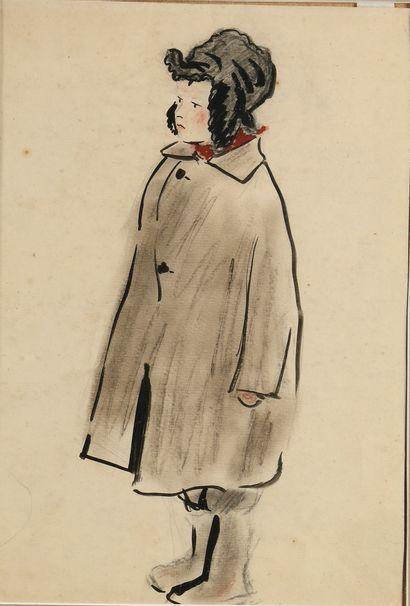 MOGILEVSKIY ALEKSANDR (1885-1980)  Garçon  Gouache, encre, sanguine sur papier  Années...