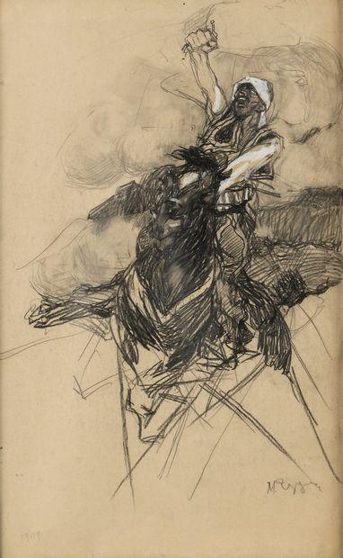 EZUCHEVSKI MIKHAIL (1880-1928)  Cavalier  Gouache et crayon sur papier  Signé en...