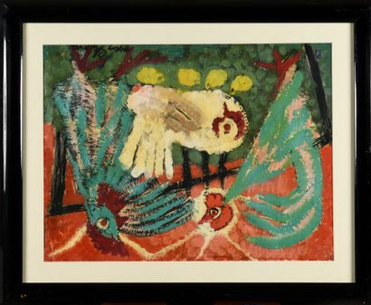 CHAPIRO JACQUES (1887-1992)  Les Poules  Gouache...
